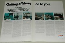 1974 EXXON OIL advertisement, Offshore Oil platforms, drilling rig, tankers etc