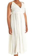 Magic off white rayon dress with crochet trim, low cut neckline, Plus size 3X