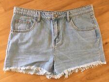 Ladies SUPRE Denim Shorts Size 14 High Waist Light Blue Faded Frayed Cut Off