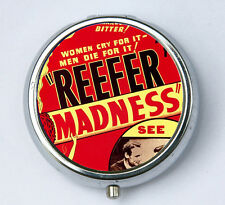 Reefer Madness pill case pillbox holder pill boxes pulp weird anti drug