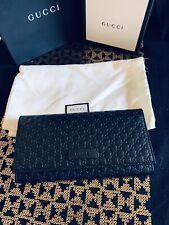Genuine Gucci Purse Black Leather GG Micro Guccissima Gucci Purse Trifold New