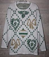 Holiday Time - Women's Ugly Christmas Sweater White Green Ornaments Large (A1)