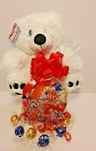 White Bear Plush Valentine's Day  Lindt Lindor Chocolate Gift Set/Basket