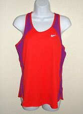 NEW Womens Nike Dri fit Tank Top Sz M Red Purple Bright Running Top # 409753