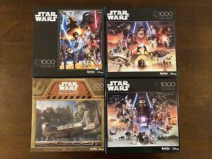 Lot of 4 Star Wars Puzzles Used Buffalo Disney Galaxy's Edge New Hope Trilogies