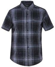 Hurley Archer Short Sleeves Plaid Shirt Black Mens Size Large New