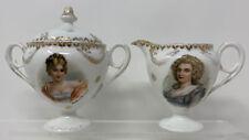Antique Ajaccio Germany Porcelain Madame Recamier & Hortense Creamer & Sugar Set