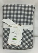 Pottery Barn Set/2 Gray Gingham Check Standand Pillowcases