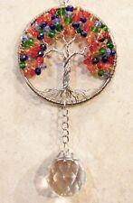 Crystal Chakra Tree of Life SunCatcher,Glass Hanging Window Ornament Prism