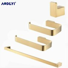 Luxury Bathroom Hardware Set Brushed Gold Brass Robe Hook Paper Holder Towel
