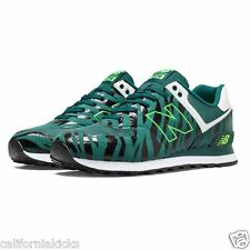NEW BALANCE 574 Men's Running Shoes sz 9 Green Tiger Stripes Edition Glow