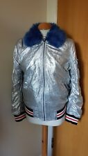 ladies TOPSHOP silver coat jacket size 8 blue fur trim grunge rave ski