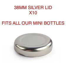 10x 38mm SILVER Coperchi per 200 & 250ml Mini bottiglia di latte Vintage Festa Matrimonio