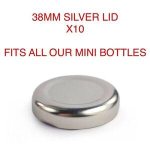 10 X 38mm SILVER LIDS FOR 200 & 250ml MINI MILK BOTTLE VINTAGE PARTY WEDDING