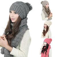 Winter Women Thicken Beanie Cap Ladies Warm Knitted Hat Scarf Set
