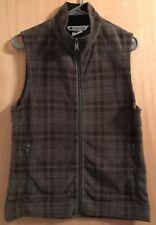 Columbia Moss Green Plaid Zip Front Fleece Vest Women's Size M Medium