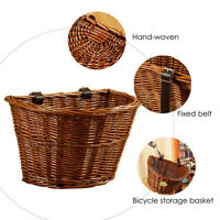 UK WICKER BIKE BASKET BROWN LEATHER ADJUSTABLE STRAP BICYCLE/CYCLE/SHOPPING