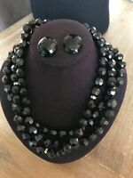 VTG Triple Black Faceted Bead Necklace w/Rhinestone and Matching Clip Earrings