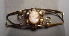 1950s Gold Filled Filigree Cuff Bracelet by Lustern w/ Italian Shell Lady Cameo