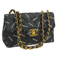 Auth CHANEL Jumbo Quilted CC Chain Shoulder Bag Black Coating Canvas A41306c
