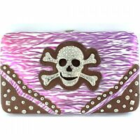 Skull & Crossbones Wallet Purple Calavera New with Checkbook Cover Snap Closure
