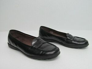 Paola Made in Spain Black Leather Penny Loafers Size Womens 7/38