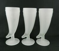 Set of 3 Indiana Glass Tiara White Frosted Mugs Pilsner Glass Powder Horn