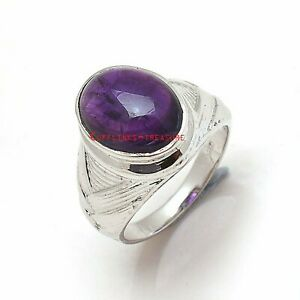 Natural Amethyst Gemstone with 925 Sterling Silver Ring For Men's