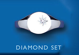 Diamond Signet Ring Solid Sterling Silver Ladies Oval