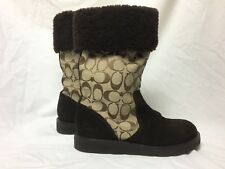 "COACH ""Kally""Signature Boots Khaki Canvas / Brown Suede Brown Shearling Fur Cuff"