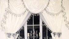 Designer Curtains Swags & Tails White Damask Silver Tassell , Diamanté Tiebacks