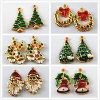 Mixed Enamel Alloy Christmas Trees Bells Santa Claus Pendants Findings Charms