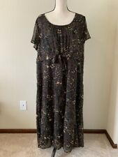 New listing STYLE&CO Women Plus Size 22W Brown Floral Boat Neck A- Line Dress