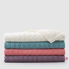 Sky Bobble Knitted Throw Blanket - Plum - New -