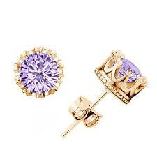 Women's Gold Plated Rhinestone Crown Charm Ear Stud Earrings [Gold Purple]