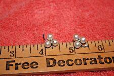 14K Solid White Gold Cultured Pearls & 3 mm Diamond Flower Pierced Earrings