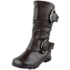 Girl Mid Calf Boots Kids Toddler Youth Faux Leather Buckle Accent Brown Size 9-4