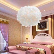 Large Feather Ceiling Chandelier Lamp Shade Bedroom Pendant Light White 40cm UK