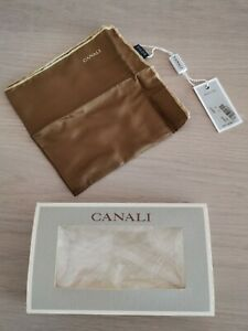 NWT CANALI Italian Silk Pocket Square - Brown with gold edges