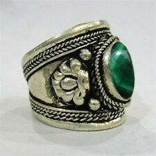 Large Adjustable Tibetan Big Natural Oval Malachite Gemstone Dorje Amulet Ring