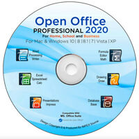 Open Office 2020 Software Suite for Microsoft Windows Home and Student & Pro CD
