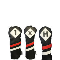 Majek Golf 1 X H Driver Wood & Hybrid Headcover Black Red White Leather Style