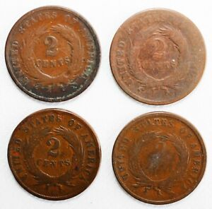 4 Coin Lot 1864-1869 US Two Cents Shield Coins 2c US Type CULL Coins Worn Spots