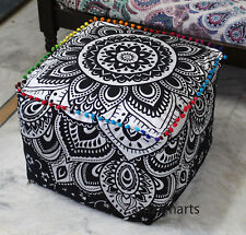 """18"""" Black Silver Ottoman Pouf Cover Indian Ombre Mandala Square Footstool Cover"""