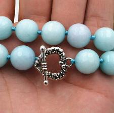"12mm natural Facet american Amazon gem Necklace 18 ""Tibetan silver love clasps"