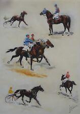 J.RIVET (XXe s.) Etude de trot monté ou attelé gravure équitation, cheval HORSE