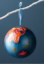 NEW ANTHROPOLOGIE ORNAMENT PAINTED GLOBE HOLIDAY CHRISTMAS ARTIST NIKKI STUDIO
