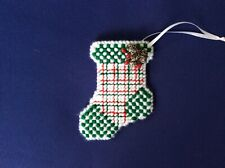 Plaid Christmas stocking ornament/money holder, handmade, needlepoint