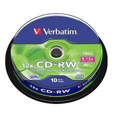 10 CD -RW Riscrivibili Verbatim Vergini 8-12X 700 Mb Per Audio Video 43480
