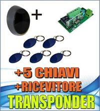 KIT apri  porta, cancello, elettroserratura  + Transponder + 5 chiavi, ricevente